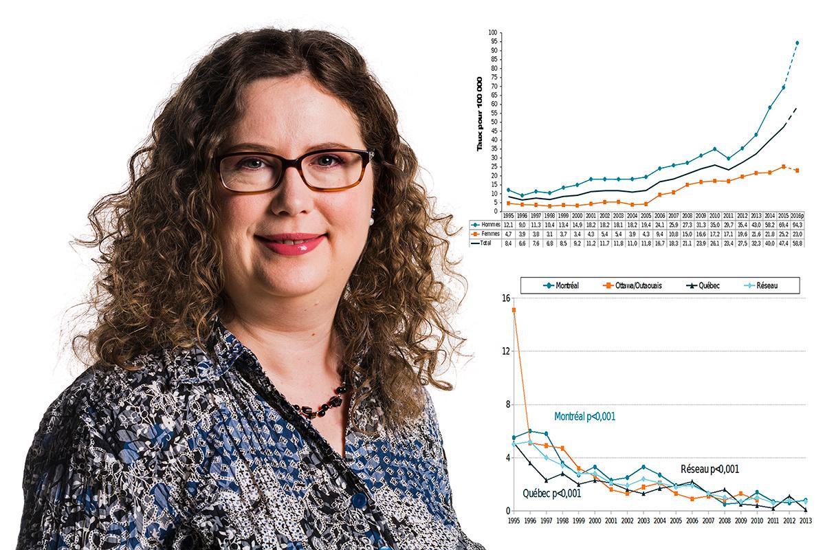 À titre de <strong>conseillère en épidémiologie</strong>, Karine Blouin observe attentivement les tendances concernant les infections transmissibles sexuellement et par le sang pour tout le Québec. Ces activités de surveillance, réalisées à partir de données de sources multiples, s'inscrivent dans la durée et concernent entre autres la gonorrhée, la syphilis, le VIH et l'hépatite C. Elles orientent les décisions en santé publique aux échelles régionale et provinciale.Photo: CFP Maurice-Barbeau