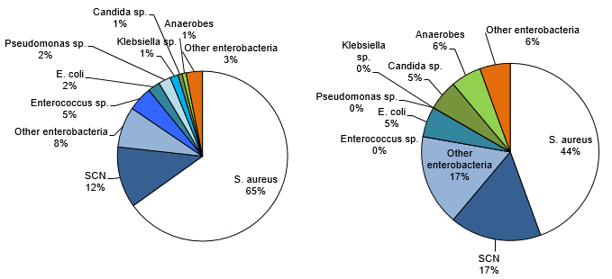 Figure 8 – Categories of Isolated Microorganisms in All Reported Cases (N = 129) and Cases Resulting in Death Within 30 Days (N = 18), Québec, 2016–2017 (%)