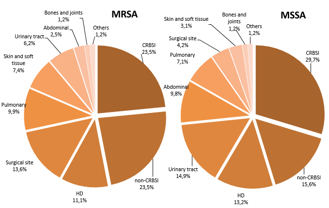 Figure 3 – Breakdown of Healthcare-Associated MRSA and MSSA Bloodstream Infections (cat. 1a. 1b and 1c) by Type of Infection. Québec, 2016-2017 (MRSA: N = 81; MSSA: N = 590)