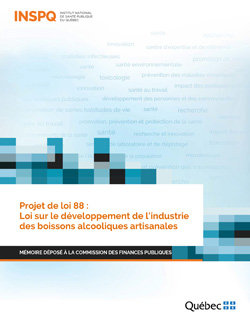 Projet de loi 88 :  Loi sur le développement de l'industrie des boissons alcooliques artisanales - Mémoire déposé à la Commission des finances publiques