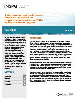 Traitement des troubles de l'usage d'opioïdes : retombées du programme de formation sur l'offre de services dans les régions