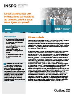 Décès attribuables aux intoxications par opioïdes  au Québec, 2000 à 2012 : mise à jour 2013-2016