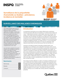 Surveillance de la polyarthrite rhumatoïde au Québec : prévalence, incidence et mortalité