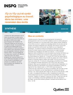 Fly-in/fly-out et santé psychologique au travail dans les mines : une recension des écrits