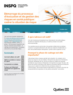 Démarrage du processus d'évaluation et de gestion des risques en santé publique : cadrer la situation de risque