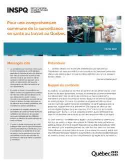 Pour une compréhension commune de la surveillance en santé au travail au Québec