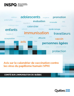 Avis sur le calendrier de vaccination contre les virus du papillome humain (VPH)