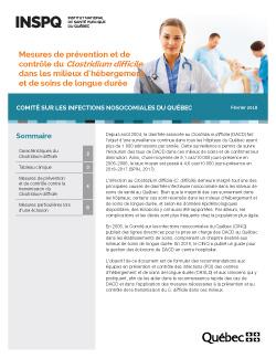 Mesures de prévention et de contrôle du Clostridium difficile dans les milieux d'hébergement et de soins de longue durée