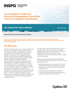 Local Opinions on Risk and Recovery Management in the Wake of the Lac-Mégantic Rail Disaster