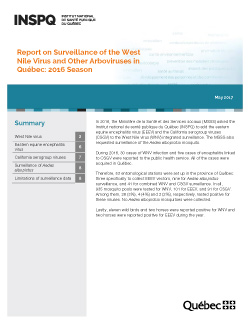Report on Surveillance of the West Nile Virus and Other Arboviruses in Québec: 2016 Season