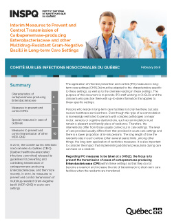 Interim Measures to Prevent and Control Transmission of Carbapenemase-producing Enterobacteriaceae and other Multidrug-Resistant Gram-Negative Bacilli in Long-term Care Settings