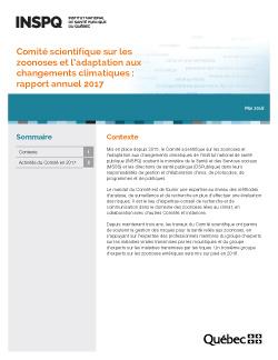 Comité scientifique sur les zoonoses et l'adaptation aux changements climatiques : rapport annuel 2017