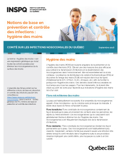 Notions de base en prévention et contrôle des infections : hygiène des mains