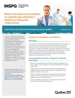 Notions de base en prévention et contrôle des infections : hygiène et étiquette respiratoires