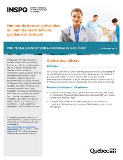 Notions de base en prévention et contrôle des infections : gestion des visiteurs