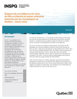 Rapport de surveillance du virus  du Nil occidental et autres arbovirus transmis par les moustiques au Québec : saison 2017