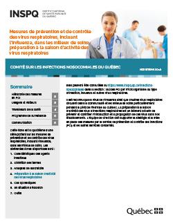 Mesures de prévention et de contrôle des virus respiratoires, incluant l'influenza, dans les milieux de soins: préparation à la saison d'activité des virus respiratoires