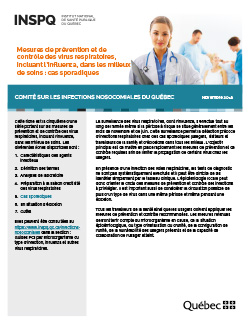 Mesures de prévention et de contrôle des virus respiratoires, incluant l'influenza, dans les milieux de soins : cas sporadiques