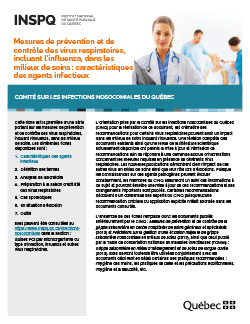 Mesures de prévention et de contrôle des virus respiratoires, incluant l'influenza, dans les milieux de soins : caractéristiques des agents infectieux