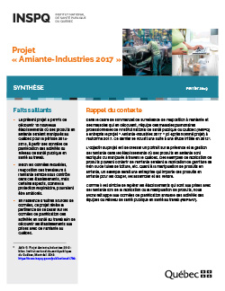 Projet « Amiante-Industries 2017 »