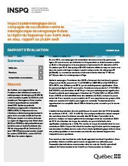 Impact épidémiologique de la campagne de vaccination contre le méningocoque de sérogroupe B dans la région du Saguenay–Lac-Saint-Jean, en 2014 : rapport au 30 juin 2018