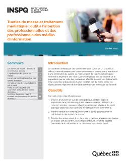 Tueries de masse et traitement médiatique : outil à l'intention  des professionnelles et des professionnels des médias d'information