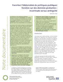 Favoriser l'élaboration de politiques publiques fondées sur des données probantes : incertitude versus ambiguïté
