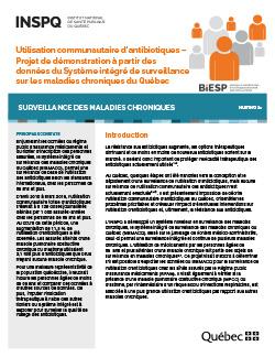 Utilisation communautaire d'antibiotiques – Projet de démonstration à partir des données du Système intégré de surveillance sur les maladies chroniques du Québec