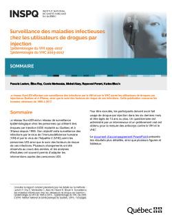 Surveillance des maladies infectieuses chez les utilisateurs de drogues par injection - Épidémiologie du VIH 1995-2017 - Épidémiologie du VHC 2003-2017