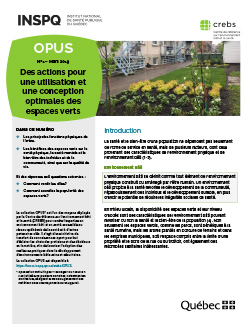 Des actions pour une utilisation et une conception optimales des espaces verts