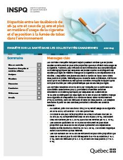 Disparités entre les Québécois de 18-34 ans et ceux de 35 ans et plus en matière d'usage de la cigarette et d'exposition à la fumée de tabac dans l'environnement