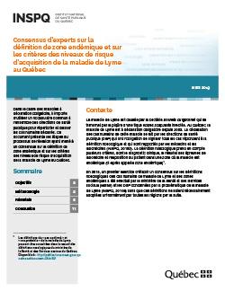 Consensus d'experts sur la définition de zone endémique et sur les critères des niveaux de risque d'acquisition de la maladie de Lyme au Québec