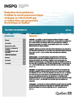 Évaluation de la pertinence d'utiliser le vaccin pneumococcique conjugué 13 valent plutôt que 10-valent dans une perspective économique au Québec
