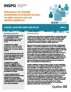 Prévalence de l'obésité abdominale et évolution du tour de taille mesuré chez les adultes québécois