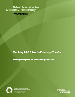 The Policy Brief: A Tool for Knowledge Transfer
