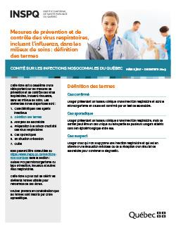 Mesures de prévention et de contrôle des virus respiratoires, incluant l'influenza, dans les milieux de soins : définition des termes