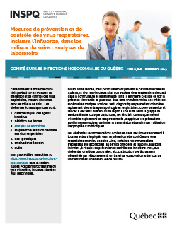 Mesures de prévention et de contrôle des virus respiratoires, incluant l'influenza, dans les milieux de soins : analyses de laboratoire