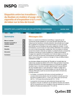 Disparités entre les travailleurs du Québec en matière d'usage de la cigarette et d'exposition à la fumée de tabac sur le lieu de travail