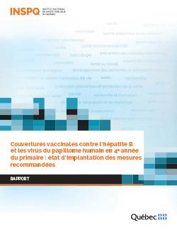 Couvertures vaccinales contre l'hépatite B  et les virus du papillome humain en 4e année du primaire : état d'implantation des mesures recommandées