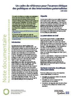 Un cadre de référence pour l'examen éthique des politiques et des interventions paternalistes