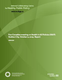 Pan-Canadian meeting on Health in All Policies (HiAP): Québec City, October 9, 2019 - Report