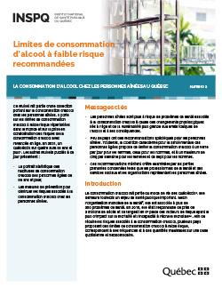 Limites de consommation d'alcool à faible risque recommandées –  La consommation d'alcool chez les personnes aînées au Québec