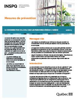 Mesures de prévention –  La consommation d'alcool chez les personnes aînées au Québec