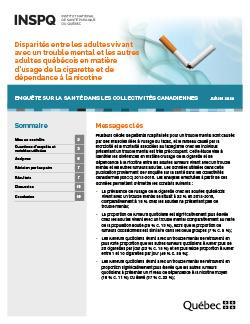 Disparités entre les adultes vivant avec un trouble mental et les autres adultes québécois en matière d'usage de la cigarette et de dépendance à la nicotine