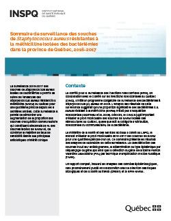 Surveillance des souches de Staphylococcus aureus résistantes à la méthicilline isolées des bactériémies dans la province de Québec, 2016-2017