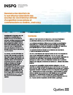 Sommaire des résultats de la surveillance laboratoire des souches de Clostridioides difficile d'acquisition nosocomiale et communautaire au Québec, 2018-2019