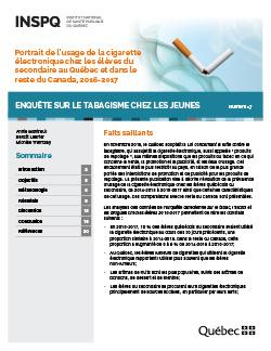 Portrait de l'usage de la cigarette électronique chez les élèves du secondaire au Québec et dans le reste du Canada, 2016-2017