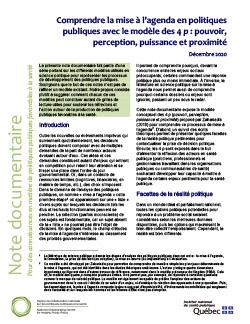 Comprendre la mise à l'agenda en politiques publiques avec le modèle des 4 p : pouvoir, perception, puissance et proximité