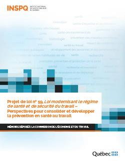 Projet de loi no 59, Loi modernisant le régime de santé et de sécurité du travail –  Perspectives pour consolider et développer la prévention en santé au travail