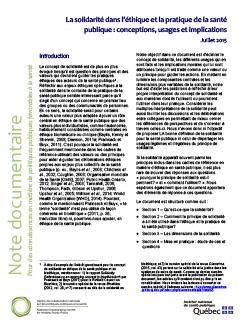 La solidarité dans l'éthique et la pratique de la santé publique : conceptions, usages et implications